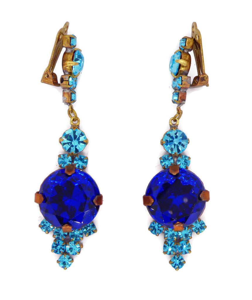 Czech Glass Rhinestone Blue Dangling Clip Earrings - Vintage Lane Jewelry
