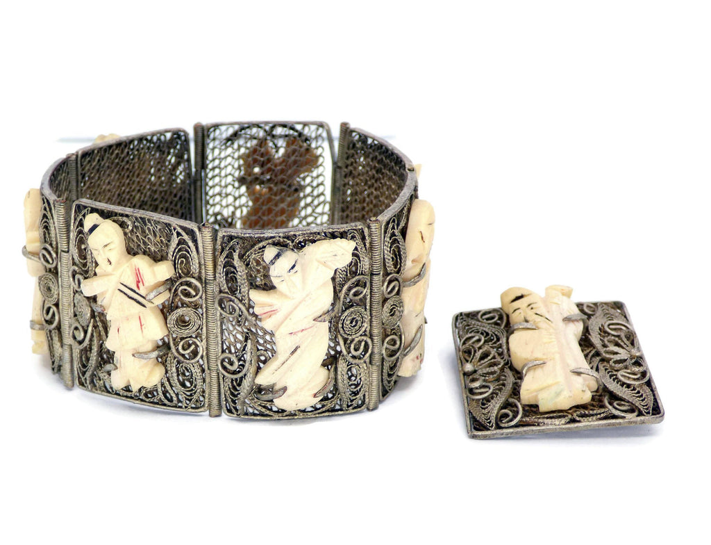 Antique Chinese Export Carved Bovine Bone Silver Filigree Bracelet and Pin - Vintage Lane Jewelry