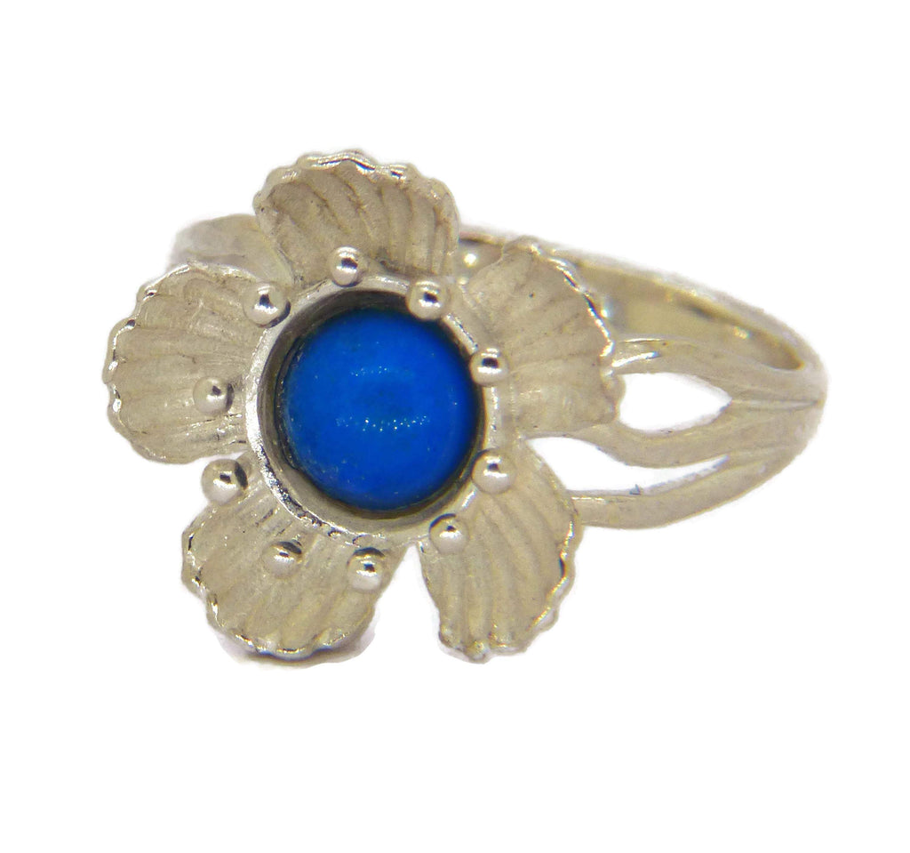 Sterling Silver Flower Mood Ring - Vintage Lane Jewelry