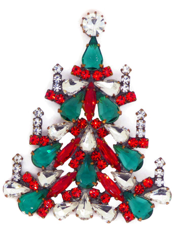 Christmas Czech Glass Husar D. Christmas Trees Necklace
