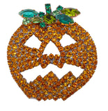 Halloween Jack O'Lantern Pumpkin Czech Glass Rhinestone Brooch - Vintage Lane Jewelry
