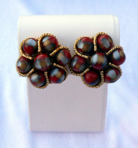 Vintage Crown Trifari Poured Glass Flower Clip Earrings