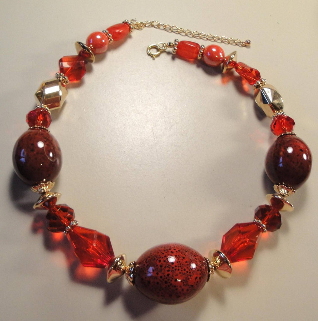Vintage 70's Chunky Red Necklace - Vintage Lane Jewelry