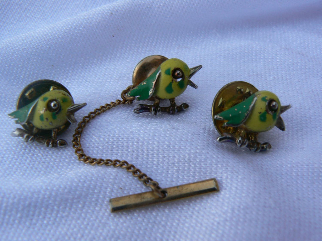 Bird Lapel Pins And Tie Pin - Vintage Lane Jewelry