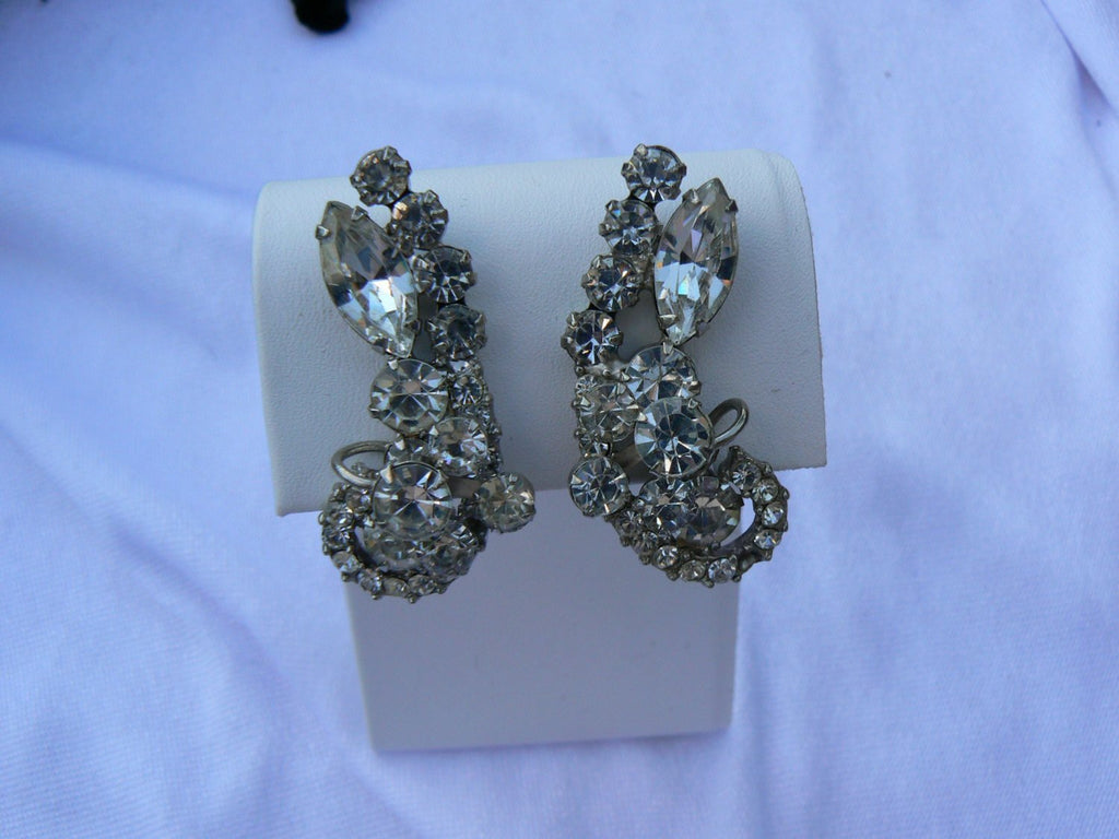 Juliana Crystal Ice Clip Earrings - Vintage Lane Jewelry