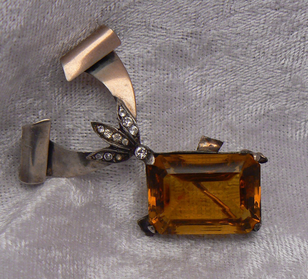 Stunning 1920's Sterling And Amber Open Back Glass Brooch - Vintage Lane Jewelry