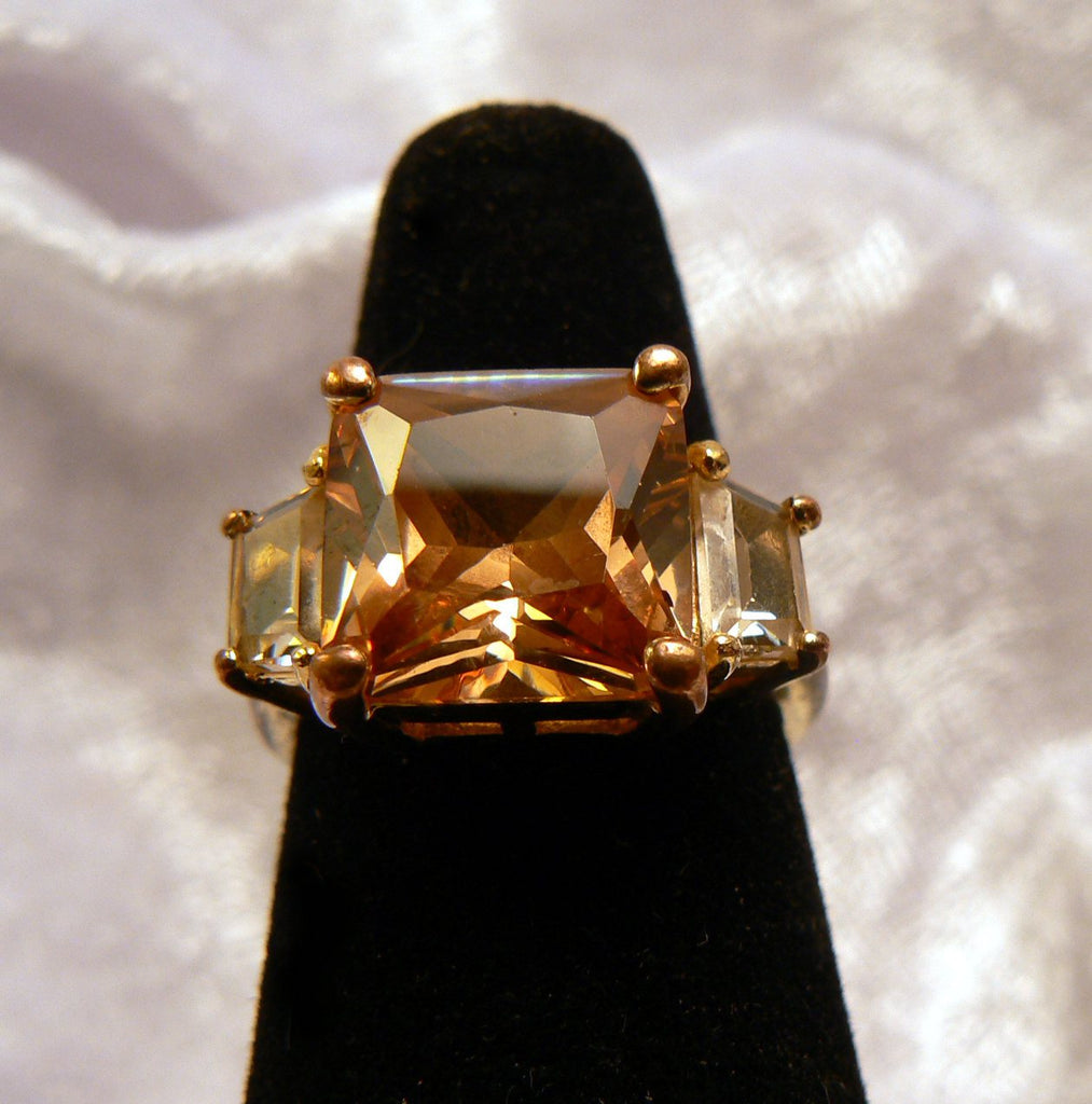 Peach Glass Cocktail Ring - Vintage Lane Jewelry