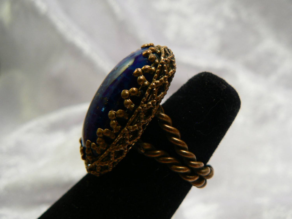 Bohemian Oval Cobalt Glass Ring - Vintage Lane Jewelry