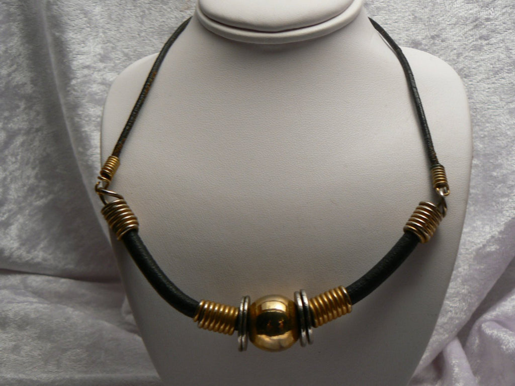 Leather And Gold Tone Necklace - Vintage Lane Jewelry