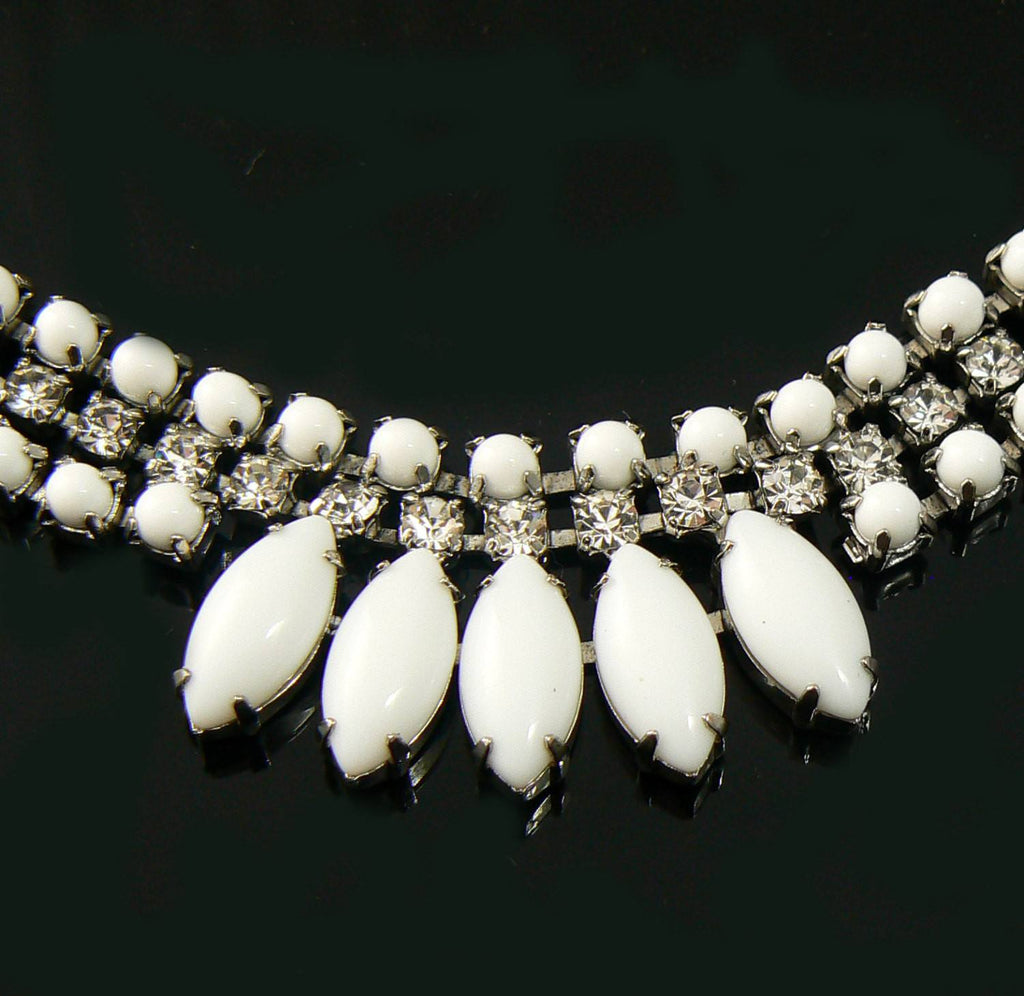 Milk Glass Necklace And Earrings - Vintage Lane Jewelry