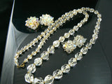 Heavy Faceted Glass Necklace And 2 Sets Of Matching Earrings - Vintage Lane Jewelry