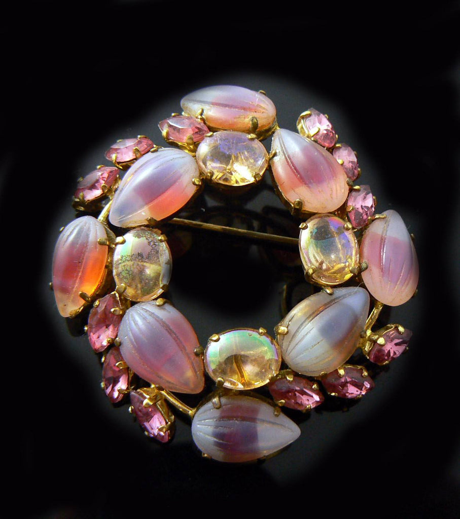 Pink Givre Open Back Brooch - Vintage Lane Jewelry