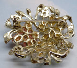 Vintage Pearl, Enamel And Glass Flowers Brooch - Vintage Lane Jewelry