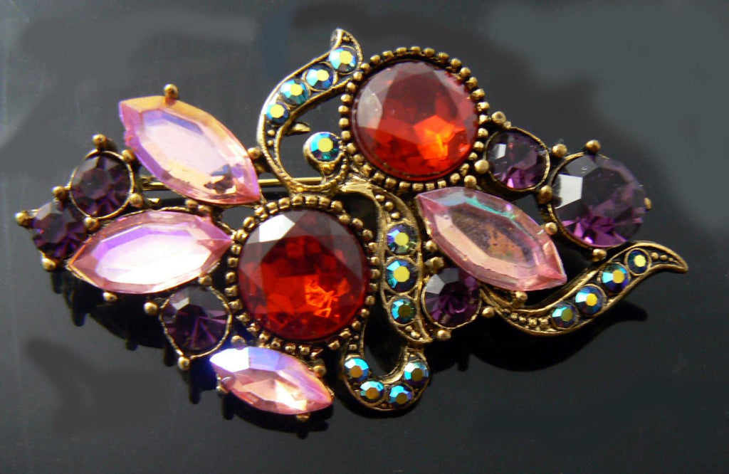 Vintage Brooch With Red, Pink, Purple And Ab Rhinestones - Vintage Lane Jewelry