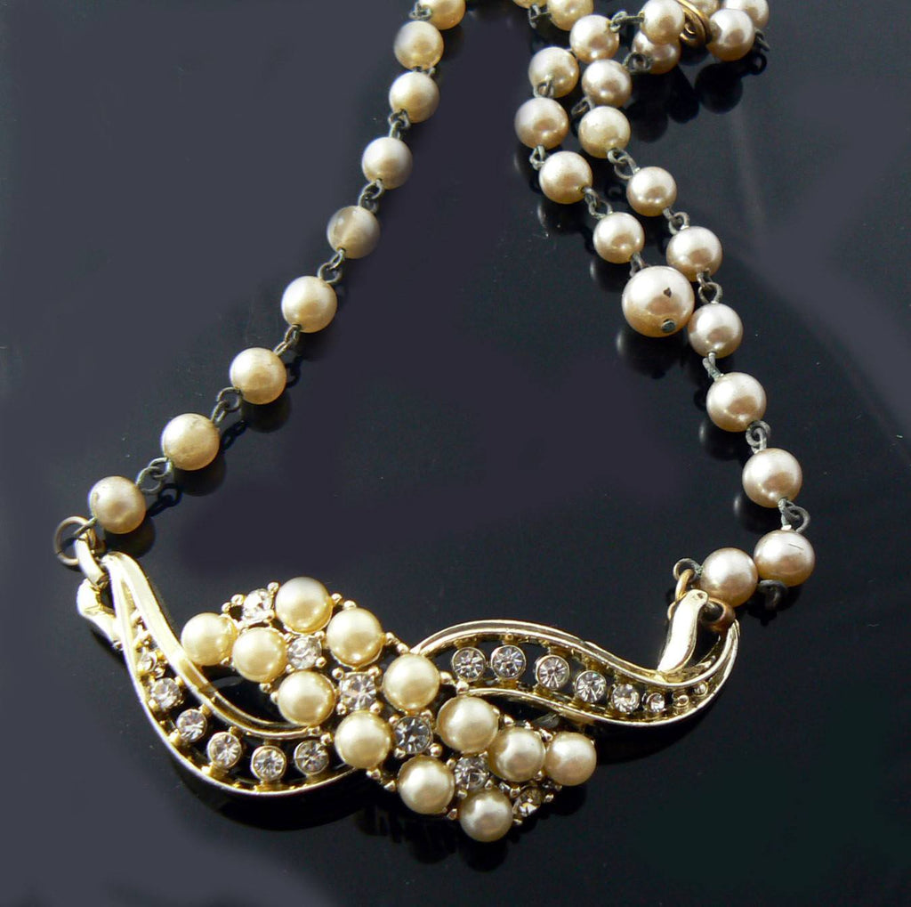Faux Pearl And Rhinestones - Vintage Lane Jewelry