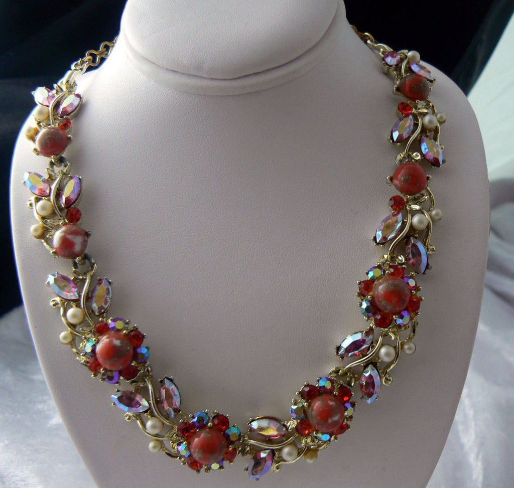 Oranges, Pinks And Faux Pearls Necklace - Vintage Lane Jewelry