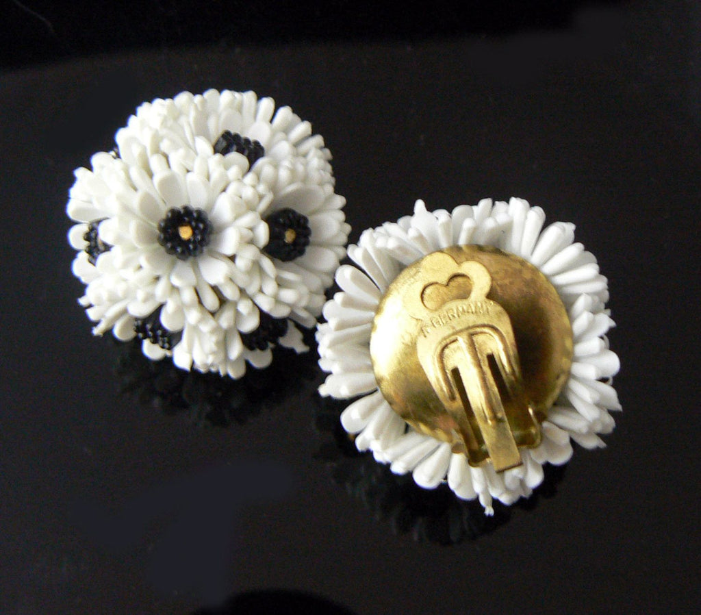 West Germany White Plastic Bouquet Floral Earrings. - Vintage Lane Jewelry