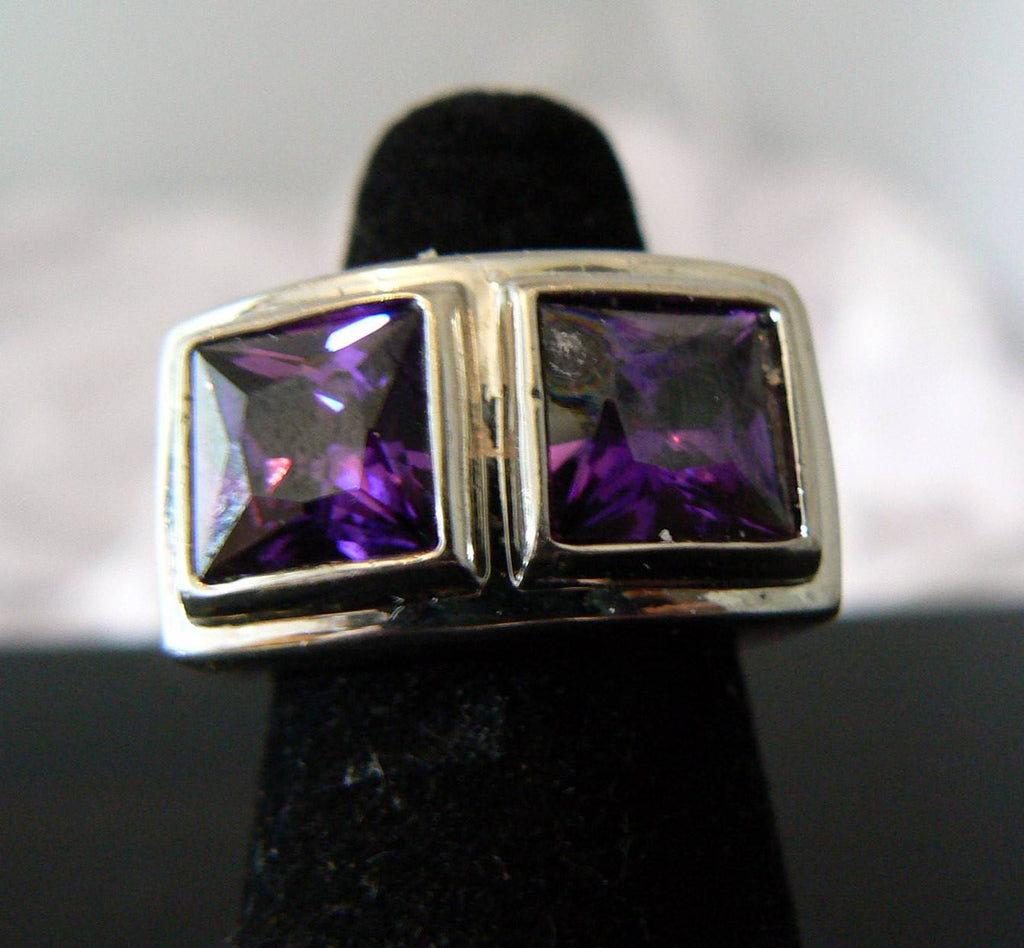Art Deco Purple Glass Ring - Vintage Lane Jewelry