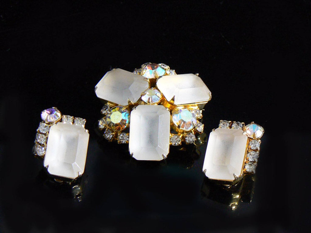 Frosted Glass & Ab Rhinestone Demi Parure - Vintage Lane Jewelry