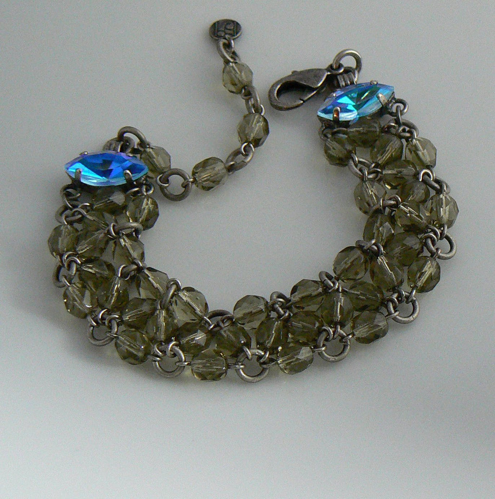 Gray Glass Crystal Czech Bracelet - Vintage Lane Jewelry