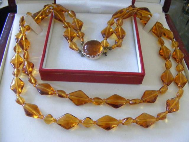 Vintage 2 Strand Amber Colored Glass Necklace - Vintage Lane Jewelry