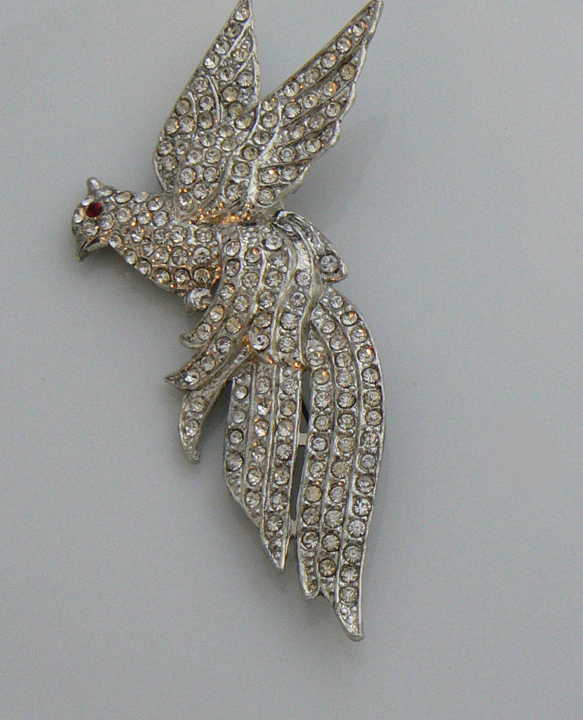 Vintage Pot Metal Rhinestone Pave Bird Brooch - Vintage Lane Jewelry