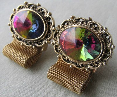 Watermelon Rivoli Fancy Cufflinks - Vintage Lane Jewelry