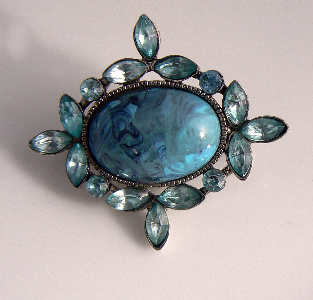 Blue Swirl Lucite And Aquamarine Crystal Brooch - Vintage Lane Jewelry