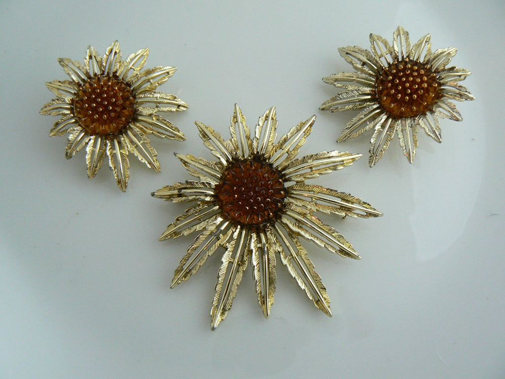 Vintage Sarah Coventry Sunflower Demi Parure - Vintage Lane Jewelry - 1