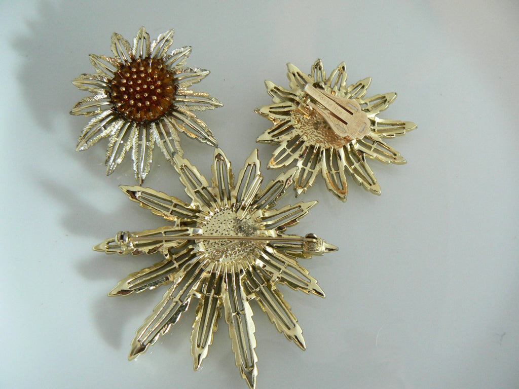 Vintage Sarah Coventry Sunflower Demi Parure - Vintage Lane Jewelry