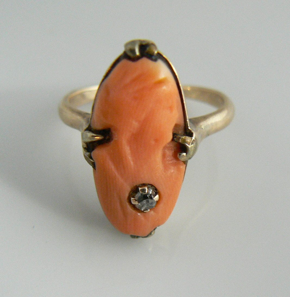 Carved Coral High Relief Diamond Cameo Ring - Vintage Lane Jewelry