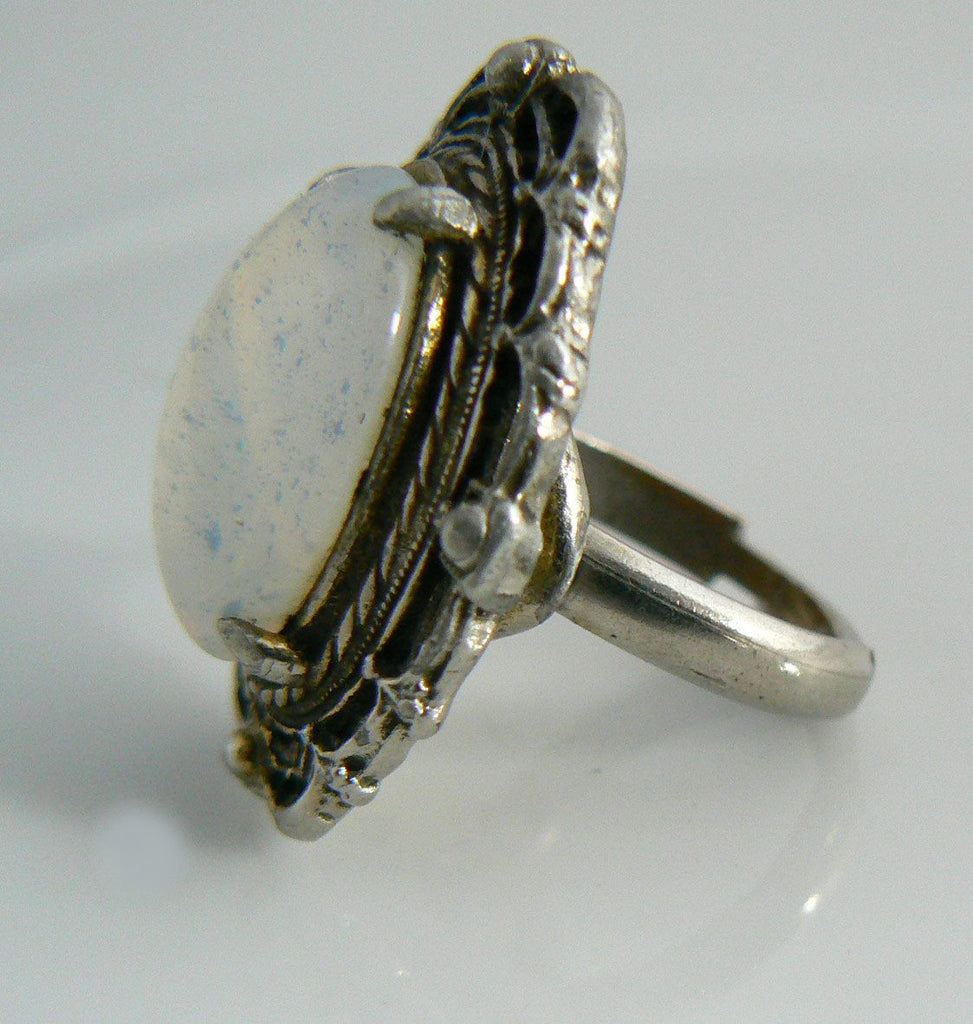 Vintage Bold Opalescent Glass Solitaire Ring - Vintage Lane Jewelry