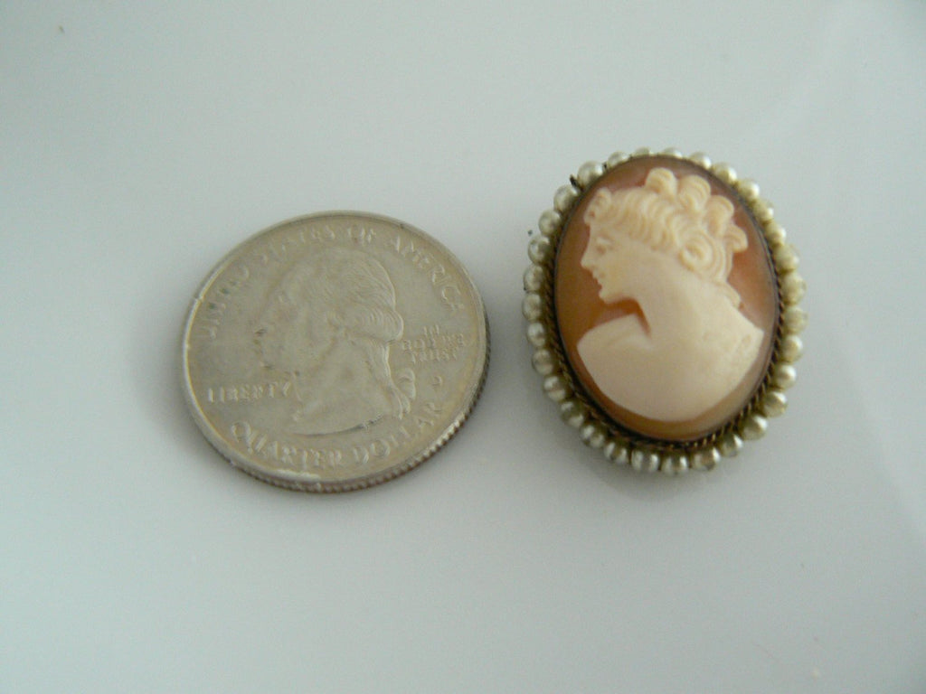 Carved Shell And Faux Pearl Left Faced Cameo - Vintage Lane Jewelry