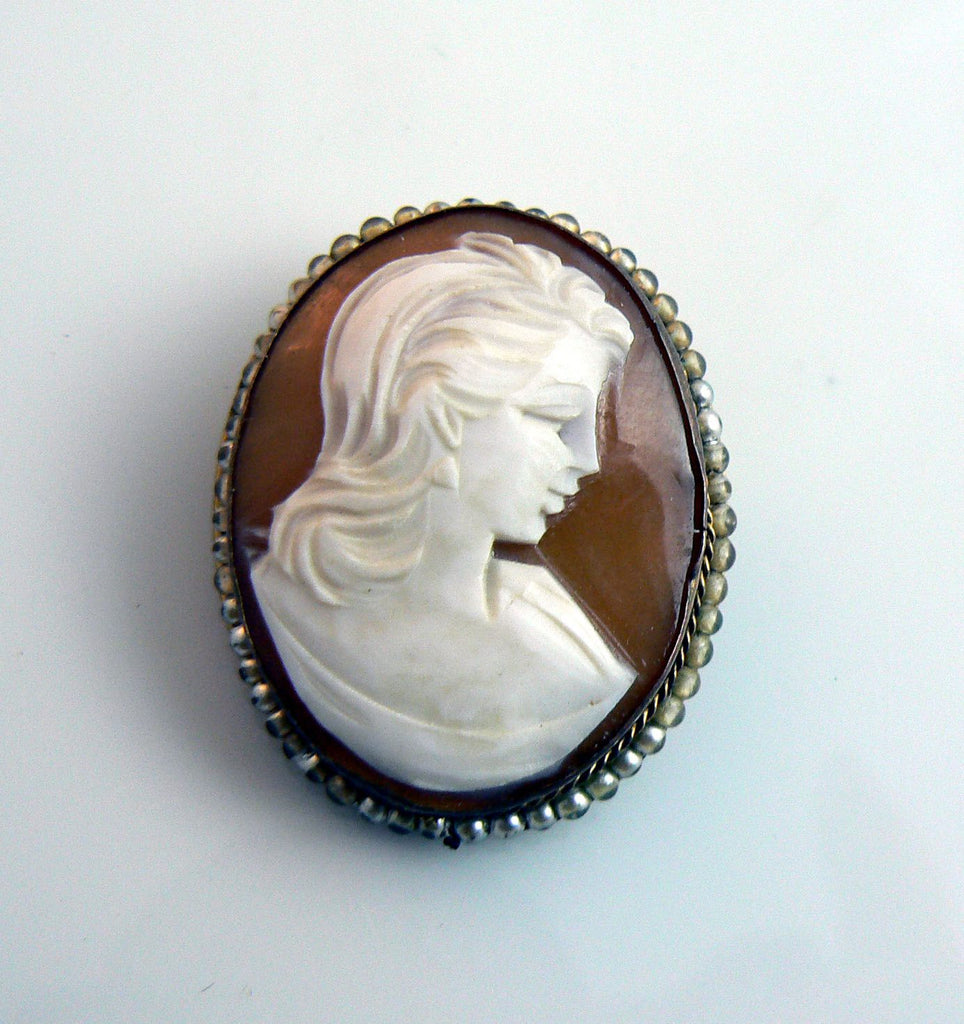 Vintage Hand Carved Cameo With Faux Pearl Ring - Vintage Lane Jewelry