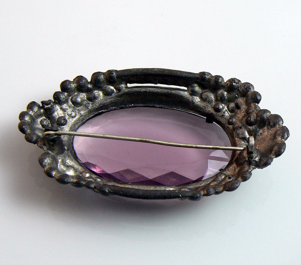 1930's Large Pot Metal Purple Glass Brooch - Vintage Lane Jewelry - 3