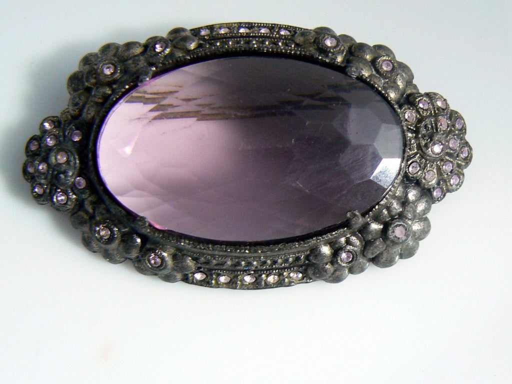 1930's Large Pot Metal Purple Glass Brooch - Vintage Lane Jewelry - 1
