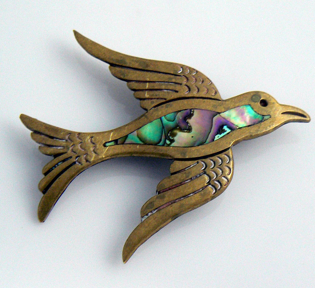 Vintage Copper And Abalone Bird Brooch Signed Taxco Hecho Mexico - Vintage Lane Jewelry