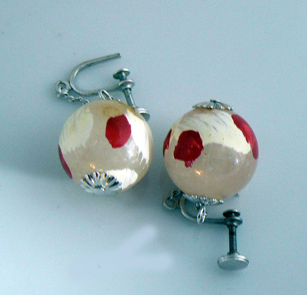 1930's Glass Ball Earrings - Vintage Lane Jewelry - 2