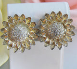 Gold Tone Sunflower Clip On Earrings - Vintage Lane Jewelry