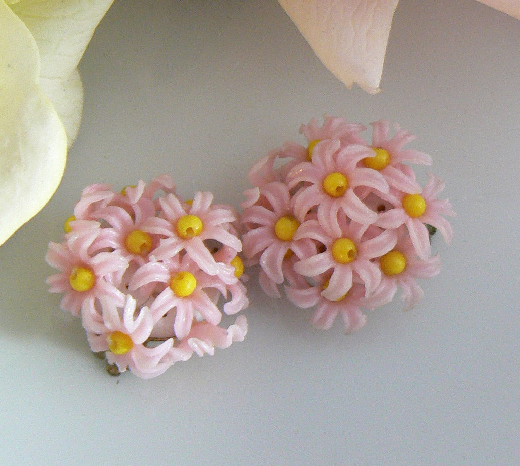 Pink Plastic Bouquet Clip On Earrings - Vintage Lane Jewelry