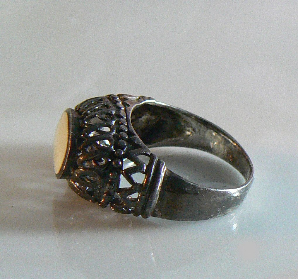 Sterling Silver And Mop Filigree Ring - Vintage Lane Jewelry