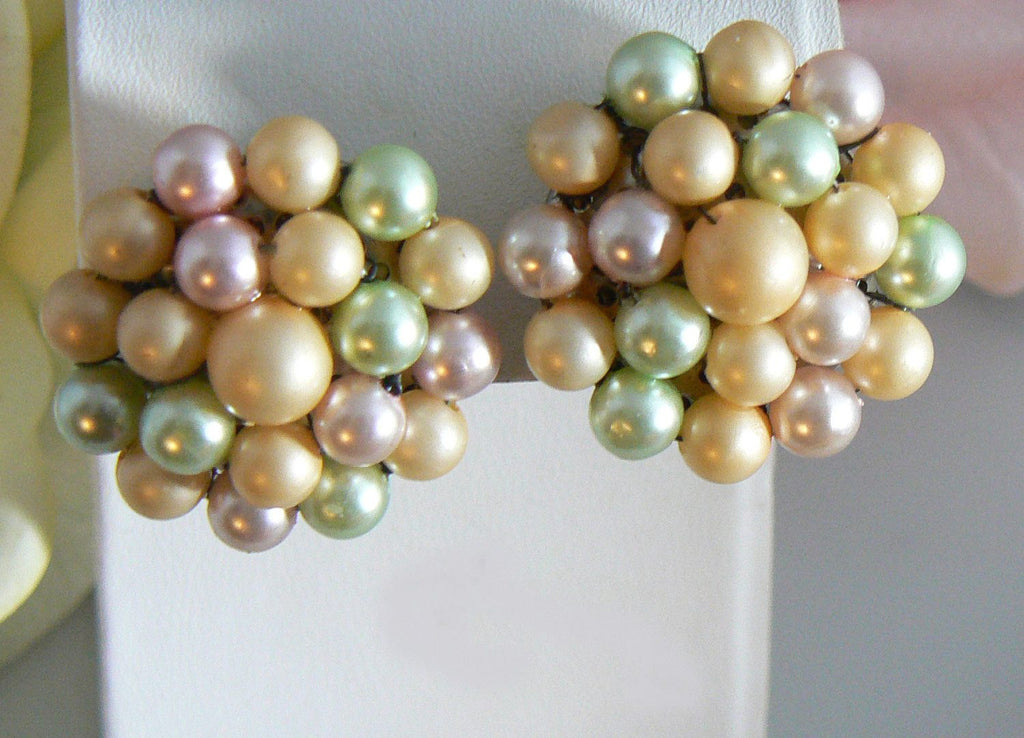 Faux Pearl Pastel Cluster Clip On Earrings - Vintage Lane Jewelry
