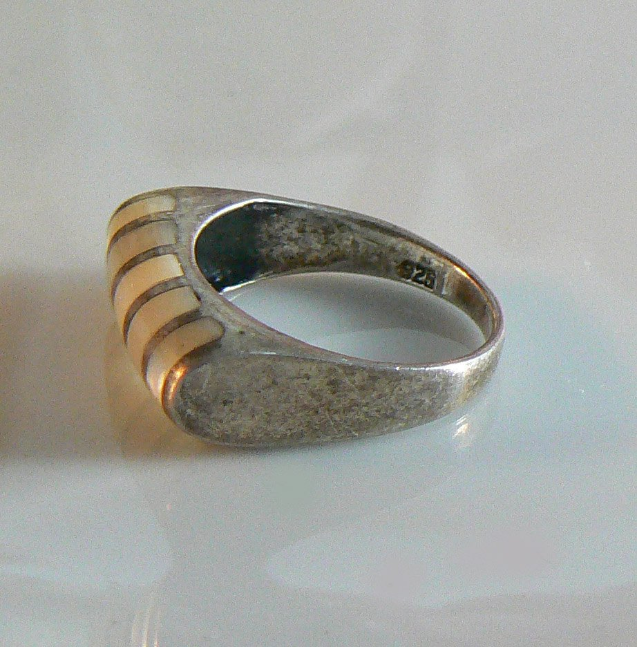 Mexican Sterling Silver And Mop Ring - Vintage Lane Jewelry
