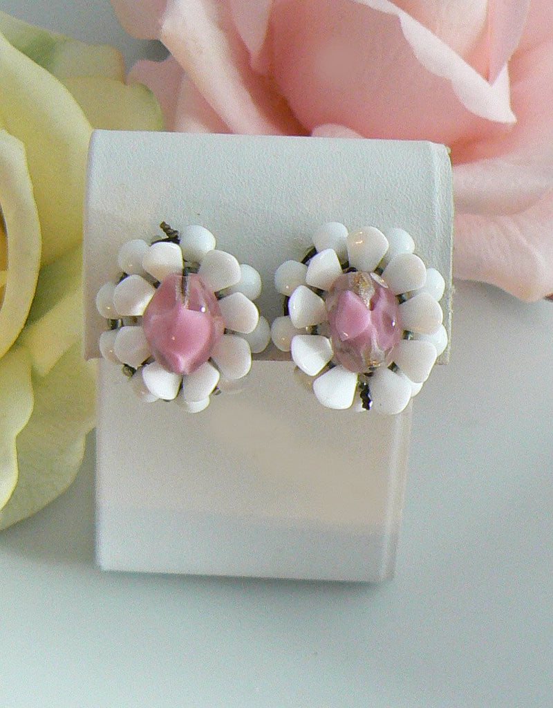 White Plastic And Pink Glass Clip On Flower Earrings - Vintage Lane Jewelry