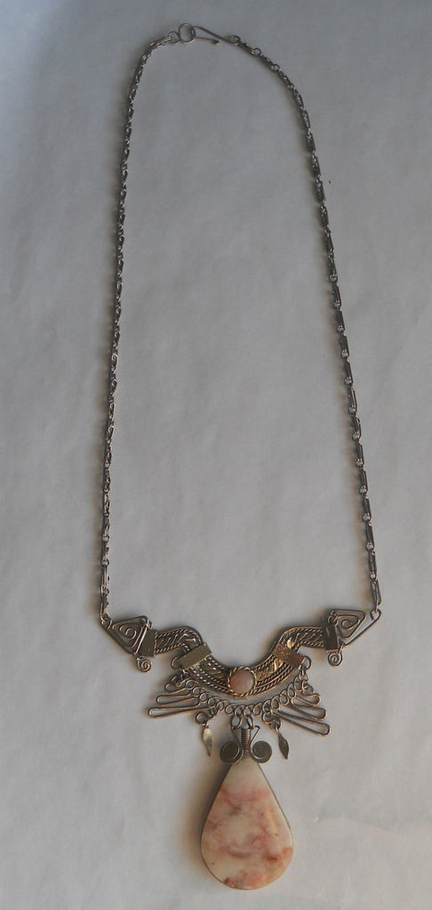 Mexican Silver And Agate Necklace - Vintage Lane Jewelry