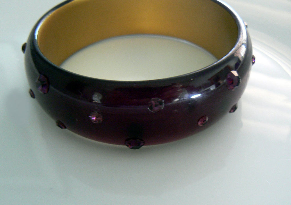 Vintage Purple Lucite Bangle With Embedded Rhinestones - Vintage Lane Jewelry