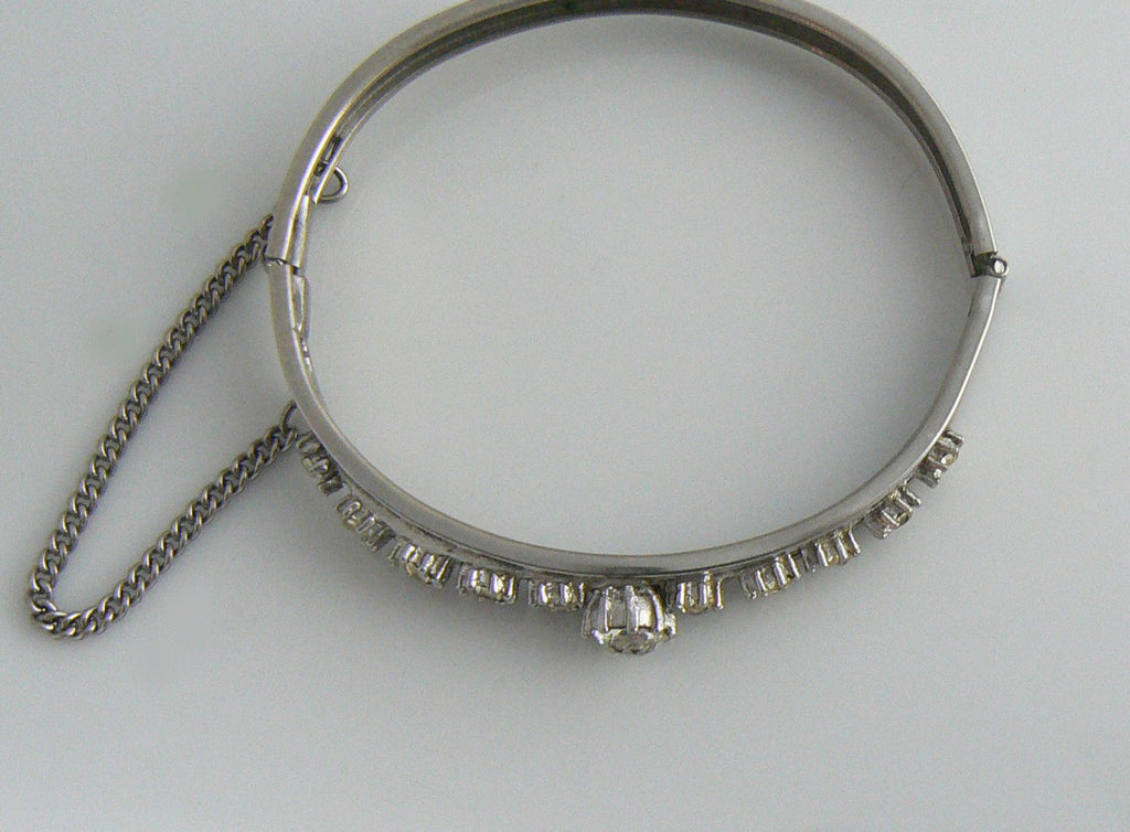Clear Rhinestone Bangle Designed In Heavy Silver Tone - Vintage Lane Jewelry