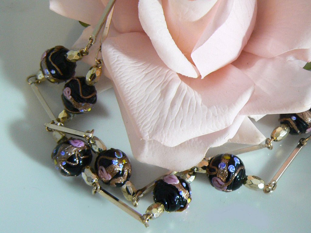 Vintage Black Wedding Cake Venetian Beads Necklace - Vintage Lane Jewelry