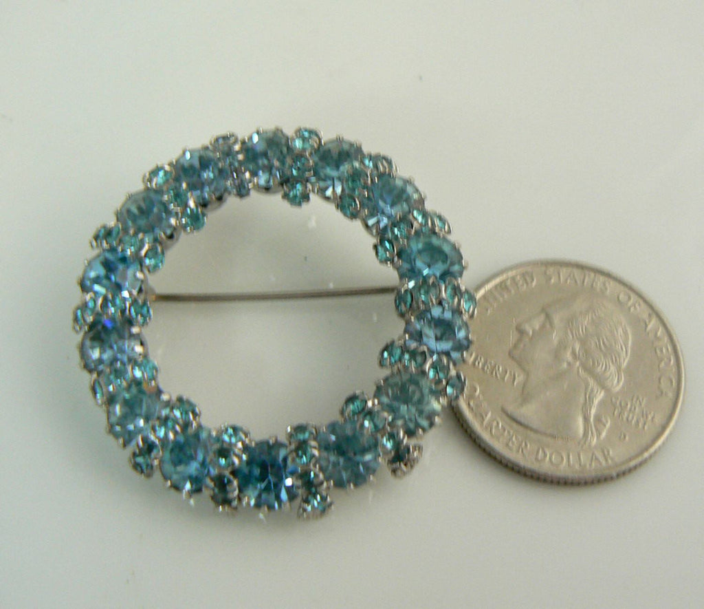 Signed Weiss Blue Rhinestone Brooch - Vintage Lane Jewelry