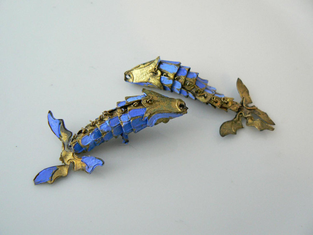 Antique Painted Articulating Koi Fish Pair - Vintage Lane Jewelry